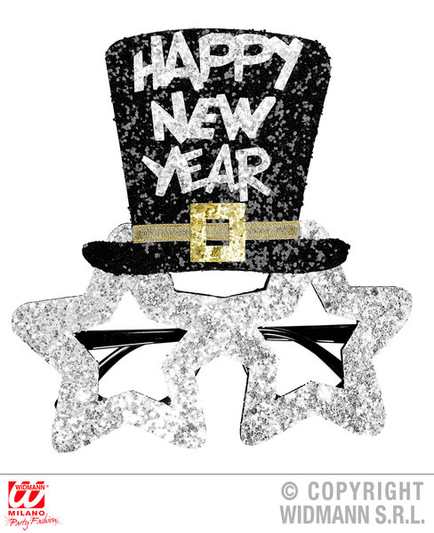 SILVER HAPPY NEW YEAR GLASSES Accessory for Fancy Dress