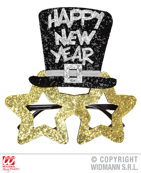 GOLD HAPPY NEW YEAR GLASSES Accessory for Fancy Dress