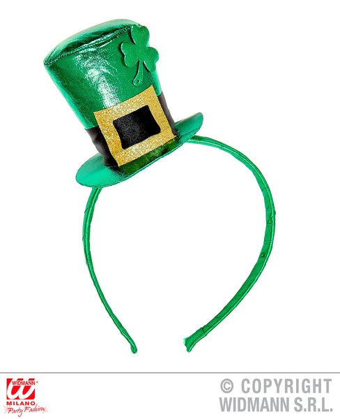 ST. PATRICK'S DAY METALLIC MINI TOP HAT ON HEADBAND for Irish Ireland St Paddy's