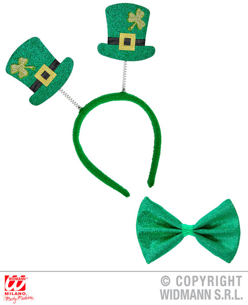 ST. PATRICK'S DAY SET glitter mini top hat h/bopper & bowtie for Irish Ireland S