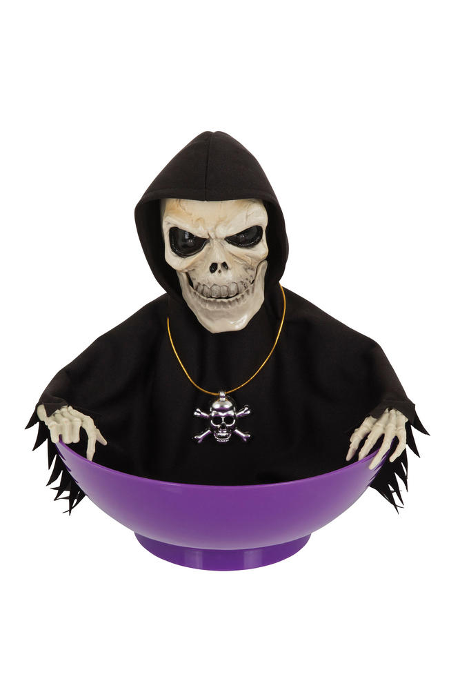 Halloween Skeleton Candy Bowl Light Sound Trick Or Treat Party Table Decoration