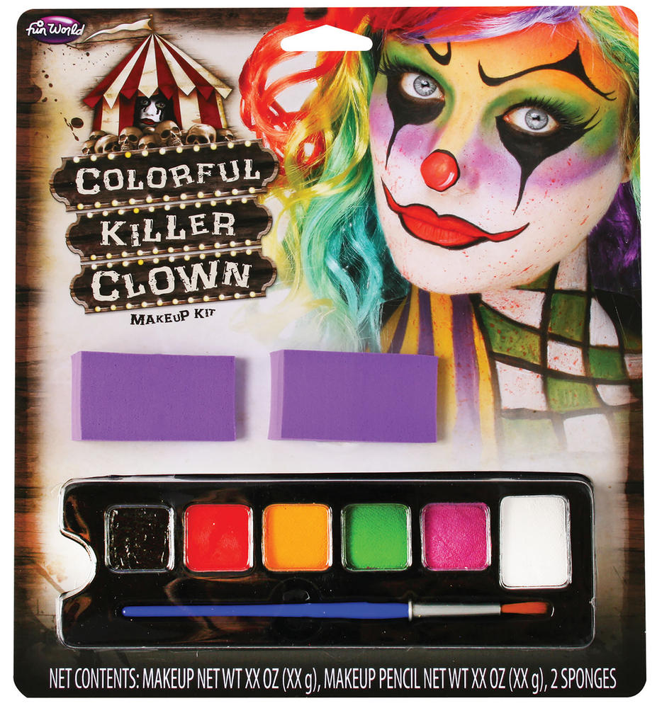 Colourful Killer Clown Makeup Kit Halloween Murderer Villian Cosmetic Artist