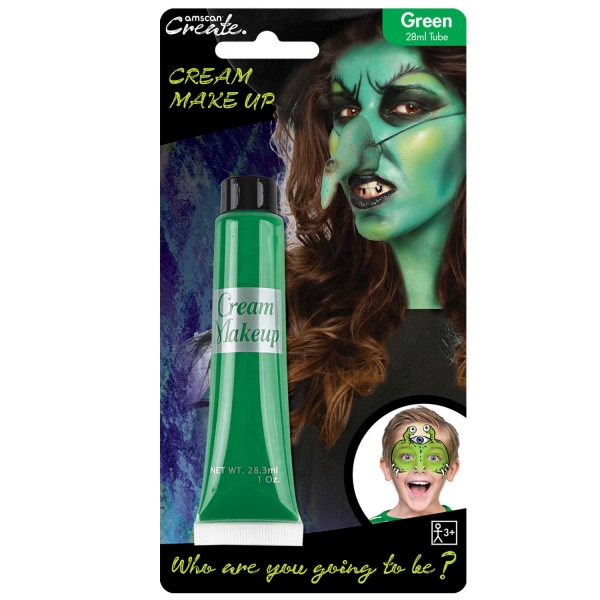Green Face Cream Paint for Halloween Witch Frankenstein Face & Body Make up 28ml