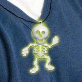 Glow In The Dark Skeleton Necklace for Halloween Fancy Dress Up Accessorie 8cm