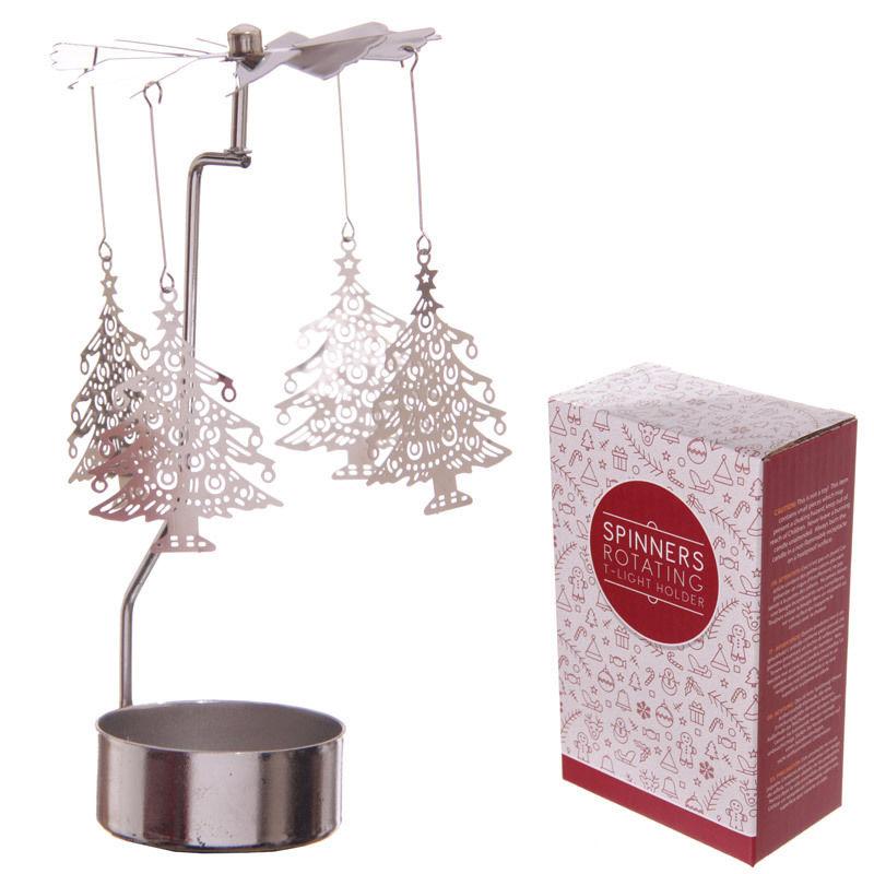 Christmas tree design metal candle tea light spinner