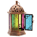 Bronze Effect Embossed Glass Moroccan Style Metal Lantern Candle Holder Garden