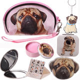 Pug Dog gift set in a make up bag for girls ideal christmas or birthday present