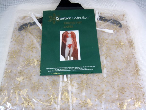 Cloak Santa Miss,White Net Gold Printed Cape Coat Hood Superhero Villian