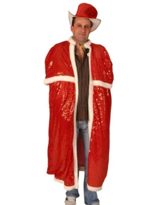 Cloak & Top Hat Sequin Red Cape Coat Hood Superhero Villian