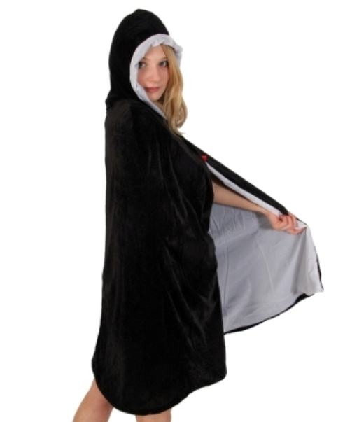 Cloak & Hood Velvet Black - White Lining Cape Coat Hood Superhero Villian