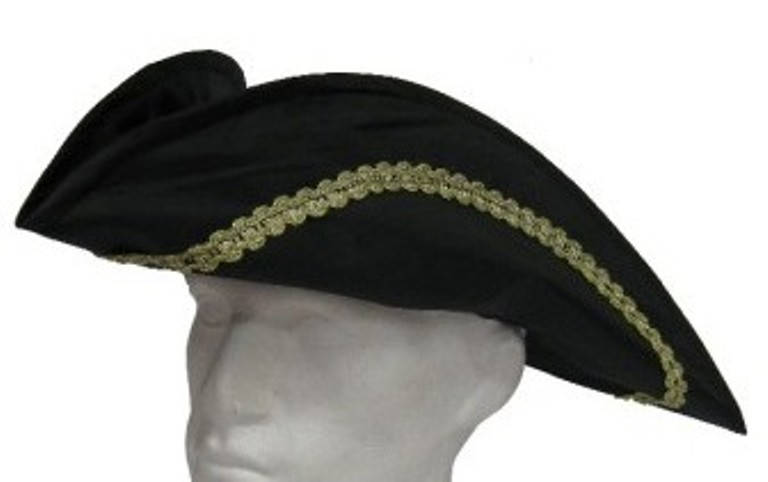 Tricorn Hat Silk with Gold Trim Pirate Dick Turpin