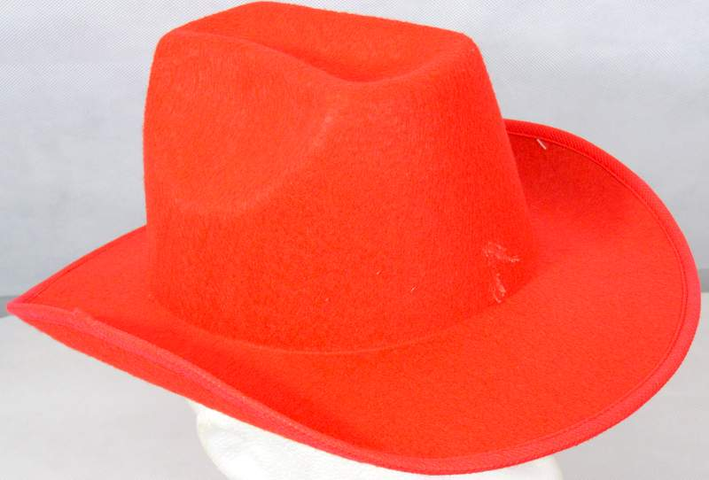 Cowboy Plain Red Hat Stiff Felt American Wild West & Indians