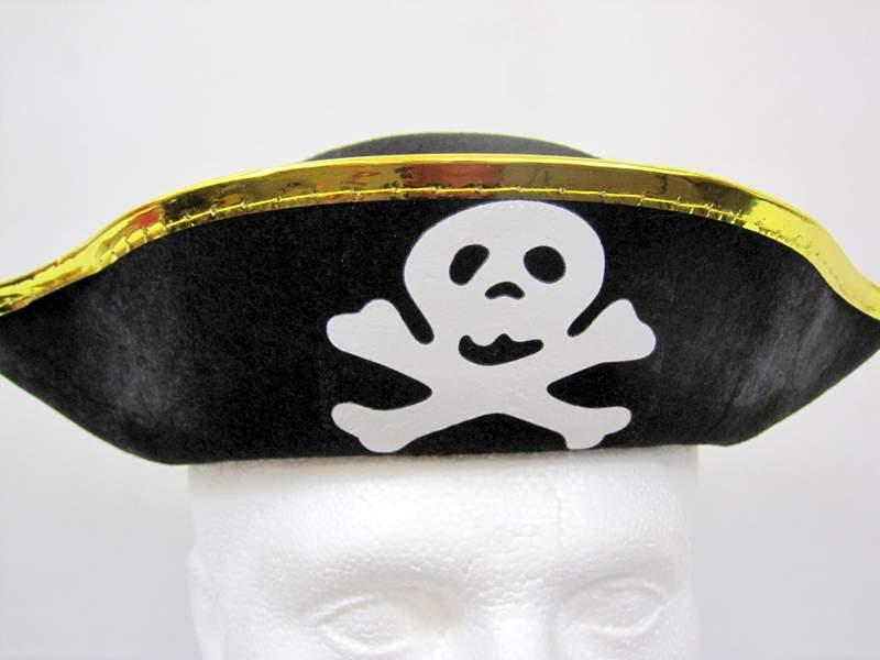 Pirate Hat Felt Black & Gold Buccaneer Sailor Jack Blackbeard
