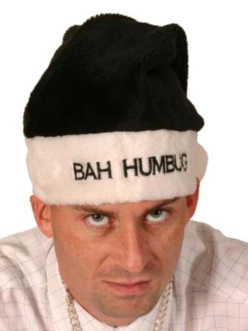 Bah Humbug Hat Black & White Velvet Santa Party Father Christmas