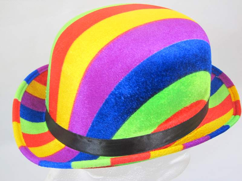 Bowler Hat Rainbow colours 61cm Laurel hardy Victorian