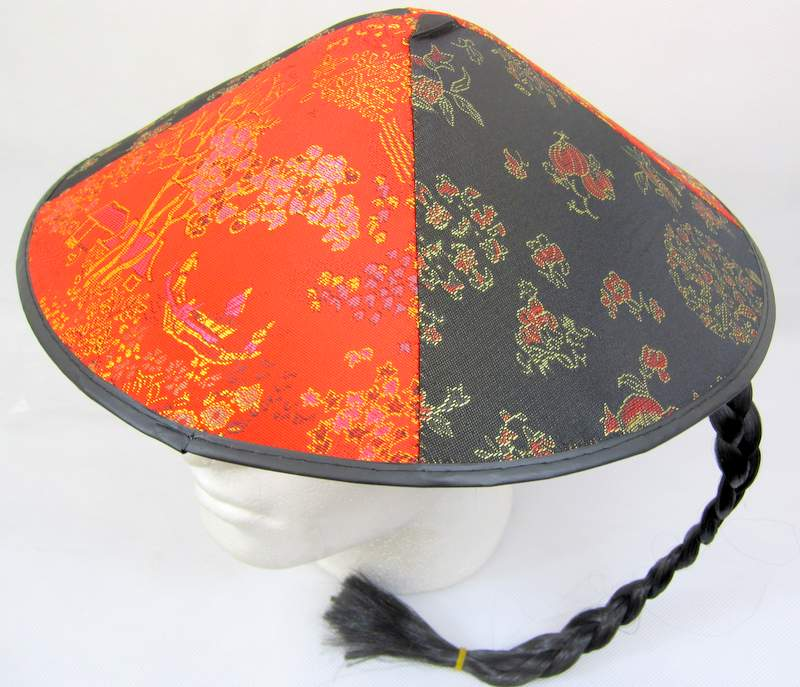 Chinese Field Worker Round Hat Decorated Oriental Coolie Asian Thai