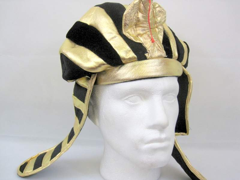 Egyptian Ruler Hat Gold & Black Ancient Pharaoh Egypt