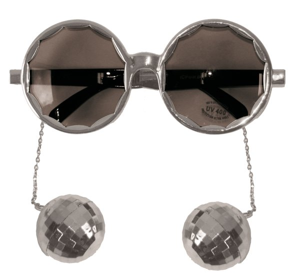 Party Glasses Disco Silver with Balls 70s Pop Music Night Fever Fame