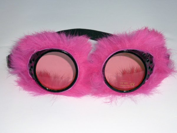 Party Glasses Fur Lined Pink Hen 60s 70s Glam Bridesmaid Bridal Shower Weekend p