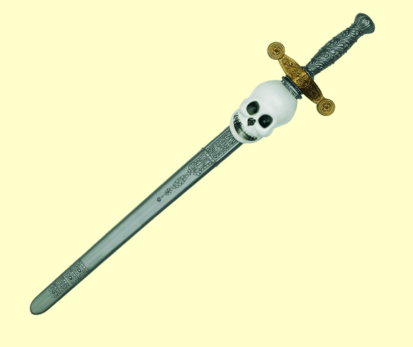 Sword with Skull Grey Black & Scabbard Novelty Toy Weapon