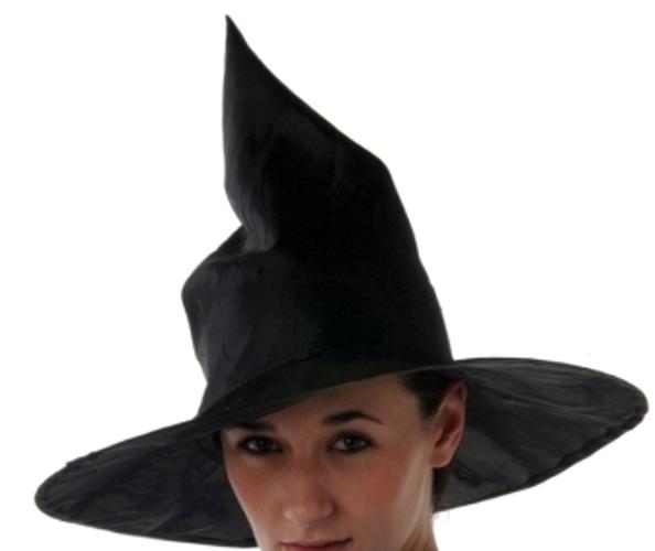 Witch Hat Satin Plain Black Halloween Oz Eastwick