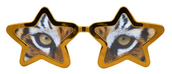 Party Glasses Tiger Eyes Starshape XXL Indian Jungle Animal Cat Feline