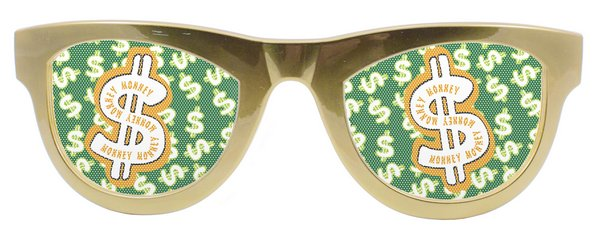 Party Glasses Dollar Metallic Gold XXL Pimp 70s 70s Huggy Bear Live & Let Die Vi