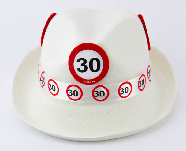 Traffic Sign 30th Party White Trilby Hat Birthday Novelty Gift Favor favour Crea