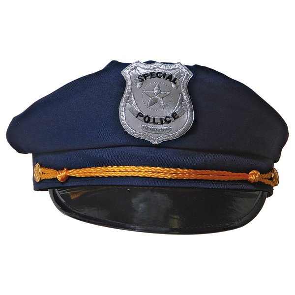 Hat Police Blue with Badge & Gold Band Cop Policeman Copper Bobby