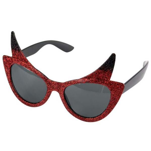 Party Glasses Devil & Horns & Glitter Satan Lucifer Demon Antichrist Halloween