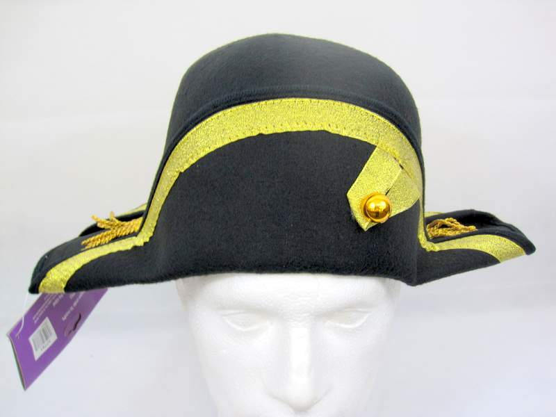 Napoleon side Hat 61cm with Gold French Sailor Soldier Dictator