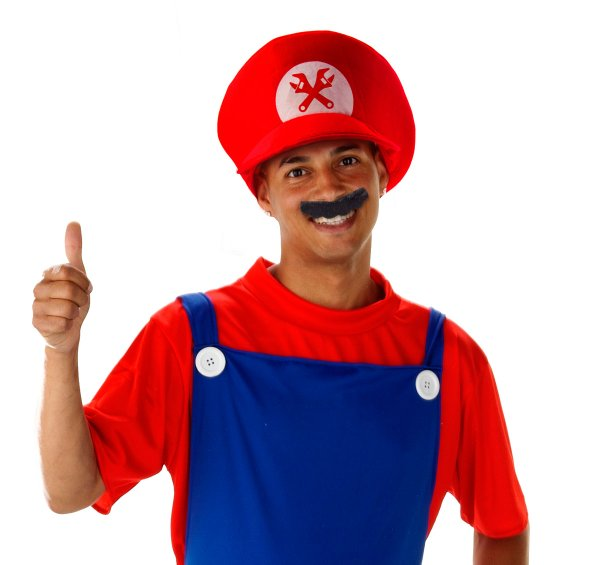 Hat & Moustache Super Plumber Superhero