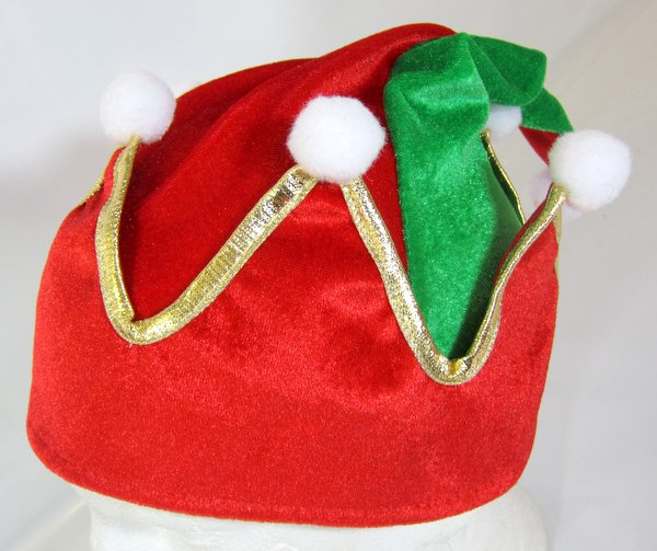 Elf Hat Crown Shape Green & Red Festive Dwarf Christmas Helper