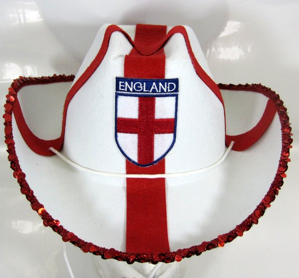 England Cowboy Hat with Sequins St George Britain English Brexit G.B.