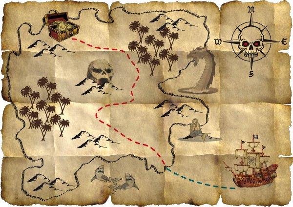 Pirate Red Treasure Map Buccaneer Sailor Jack Blackbeard