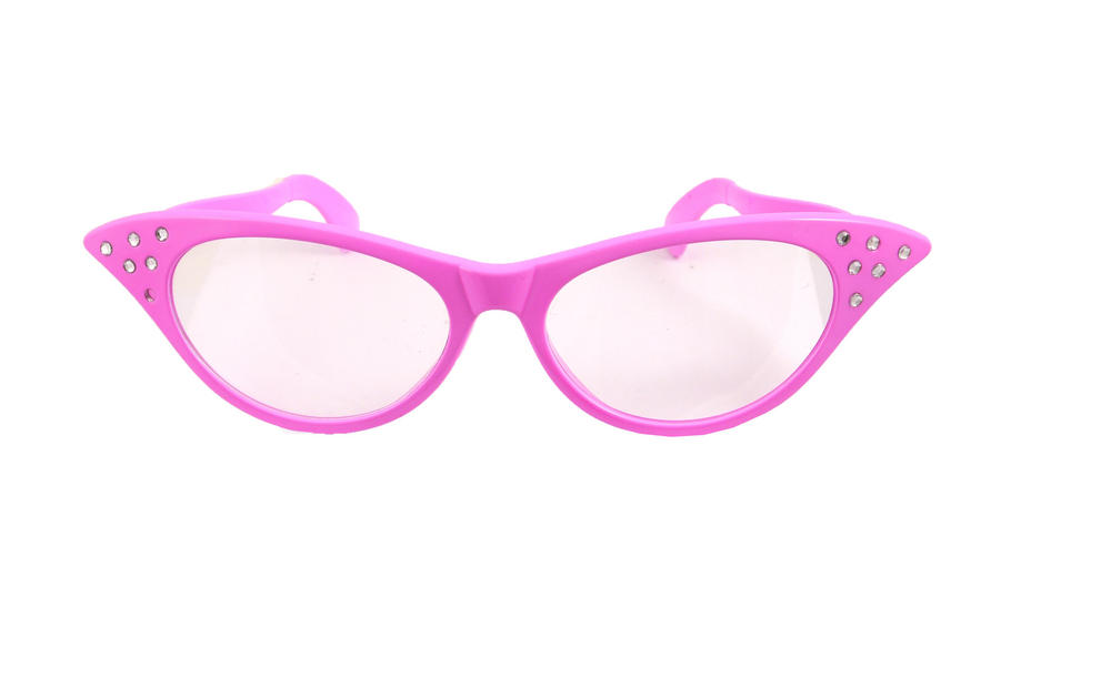 Ladies Giant Pink Rockabilly Glasses for Women's 1950's Grease Retro Fancy Dress