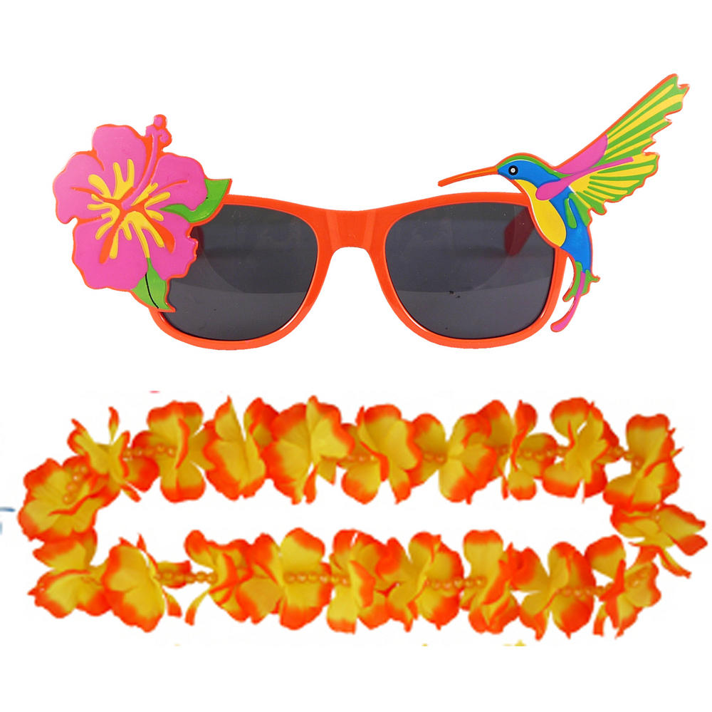 Adult Orange Hawaiian Lei & Glasses Fancy Dress Set for Mens & Ladies Summer Cos