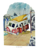 Camping Van Birthday Card Multi Purpose Fathers Day Car 3D Swing Pop Up Greeting