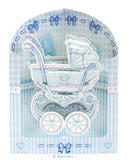 Baby Boy Birthday Card Newborn Christening Baby Shower Blue Pram 3D Swing Card