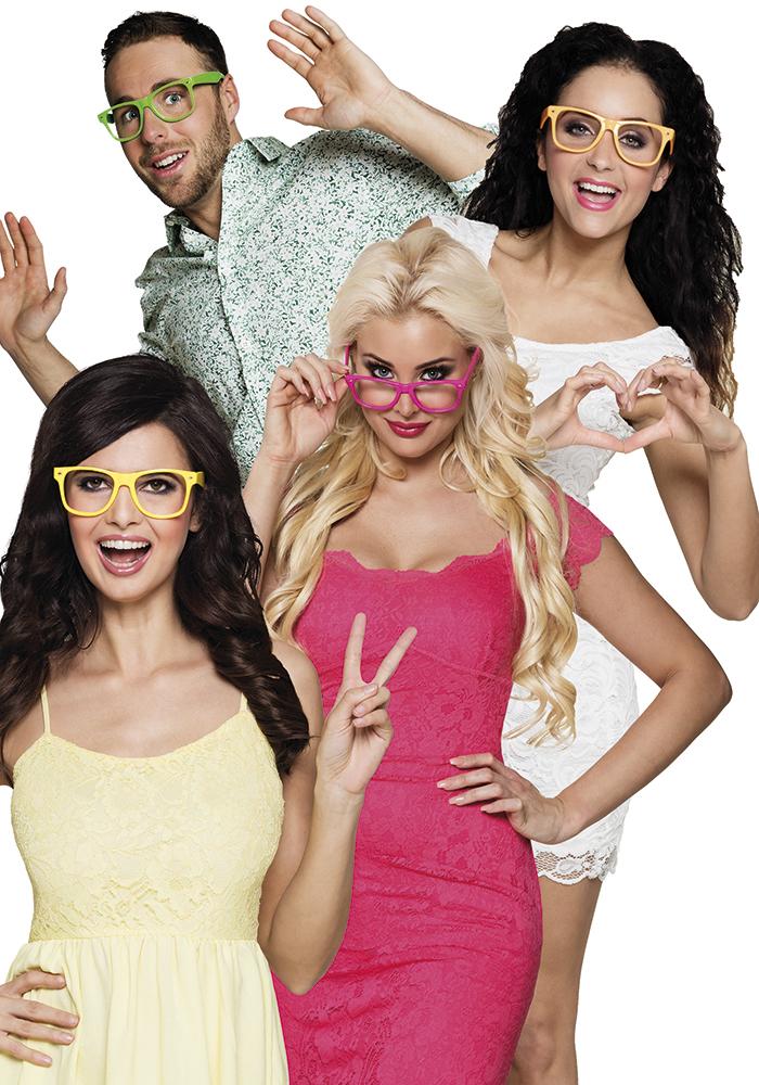 Set 4 80s Glasses Party 4 neon colours for 80s Disco Pop Retro Fancy Dress