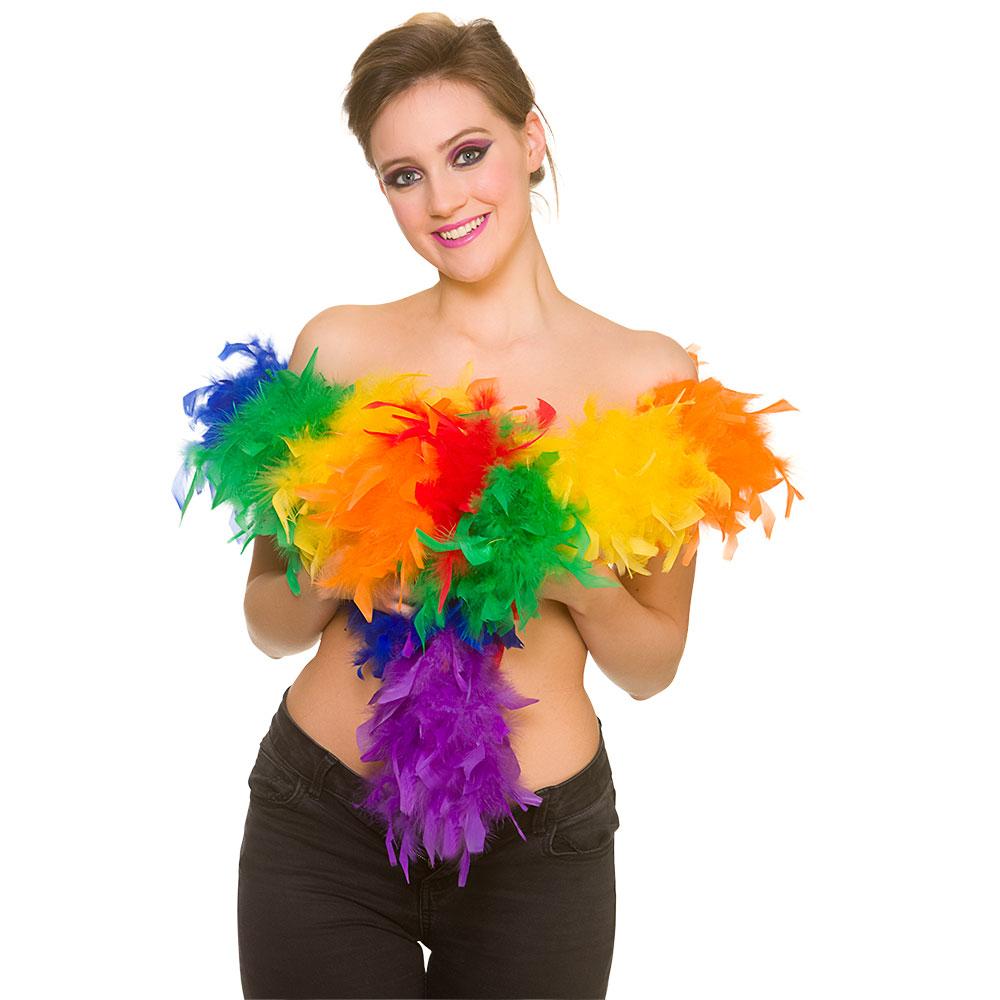 Feather Boa - Rainbow 60g/1.7m Flapper Molls Chorus Fancy Dress Cosplay