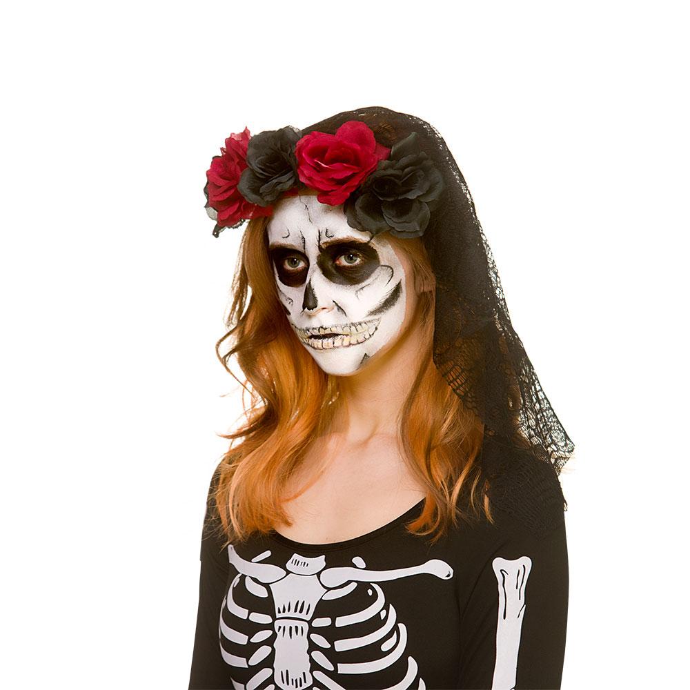 Black Lace Halloween Veil Dark Red & Black Roses Trick Or Treat Fancy Dress Cosp