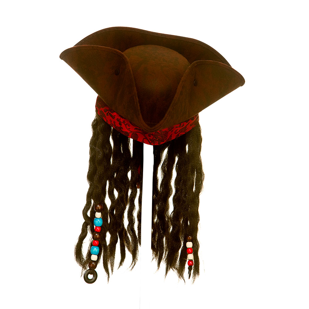 Super Deluxe Pirate Hat w/Braids & Beads Superhero Fancy Dress Cosplay