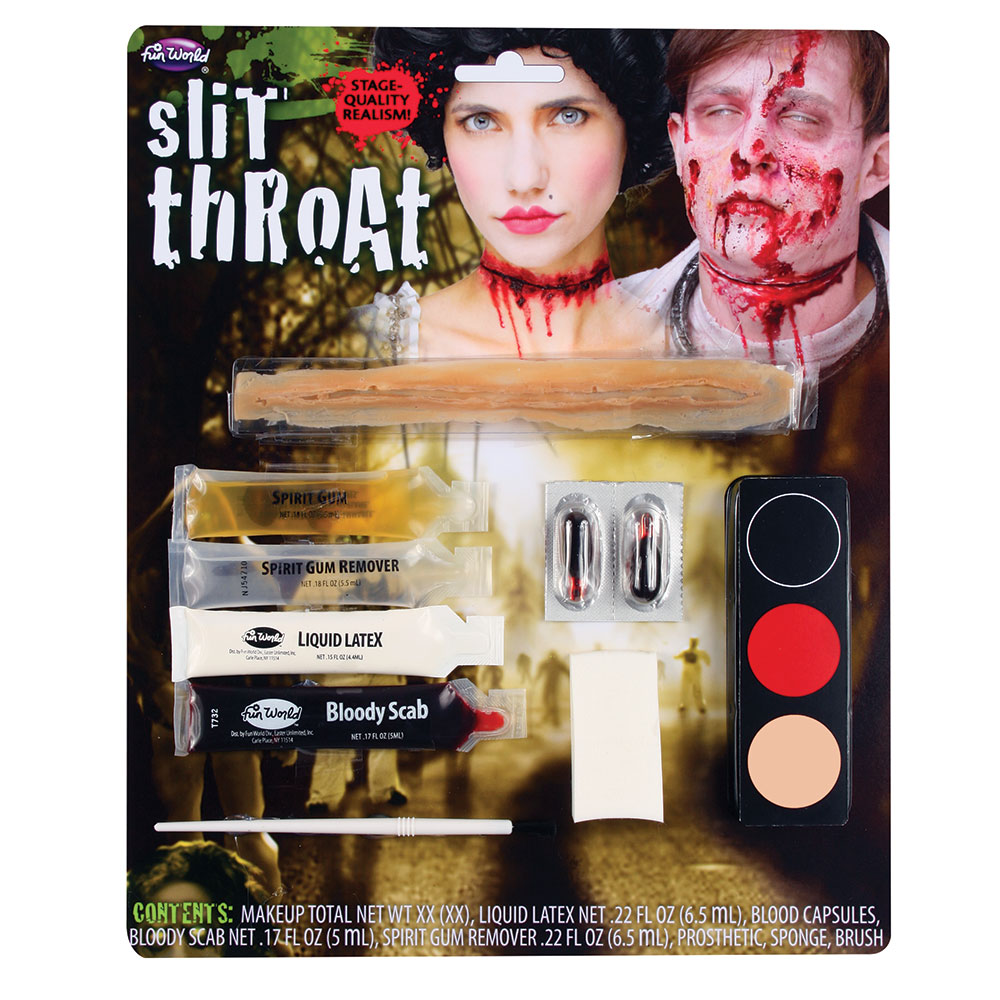 Zombie Slit Throat Makeup Kit TWD Halloween Living Walking Dead Fancy Dress Cosp