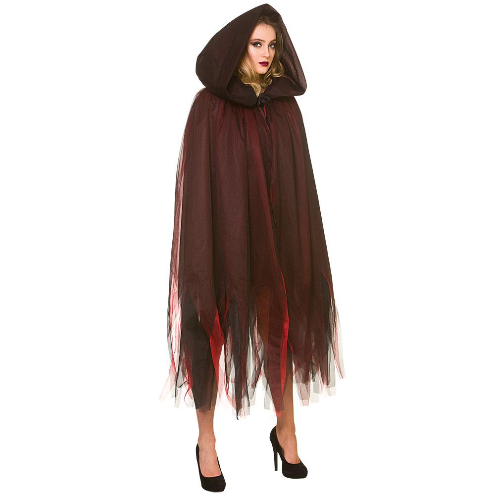 Ladies Deluxe Layered Hooded Cape - Deep Red Superhero Fancy Dress Cosplay