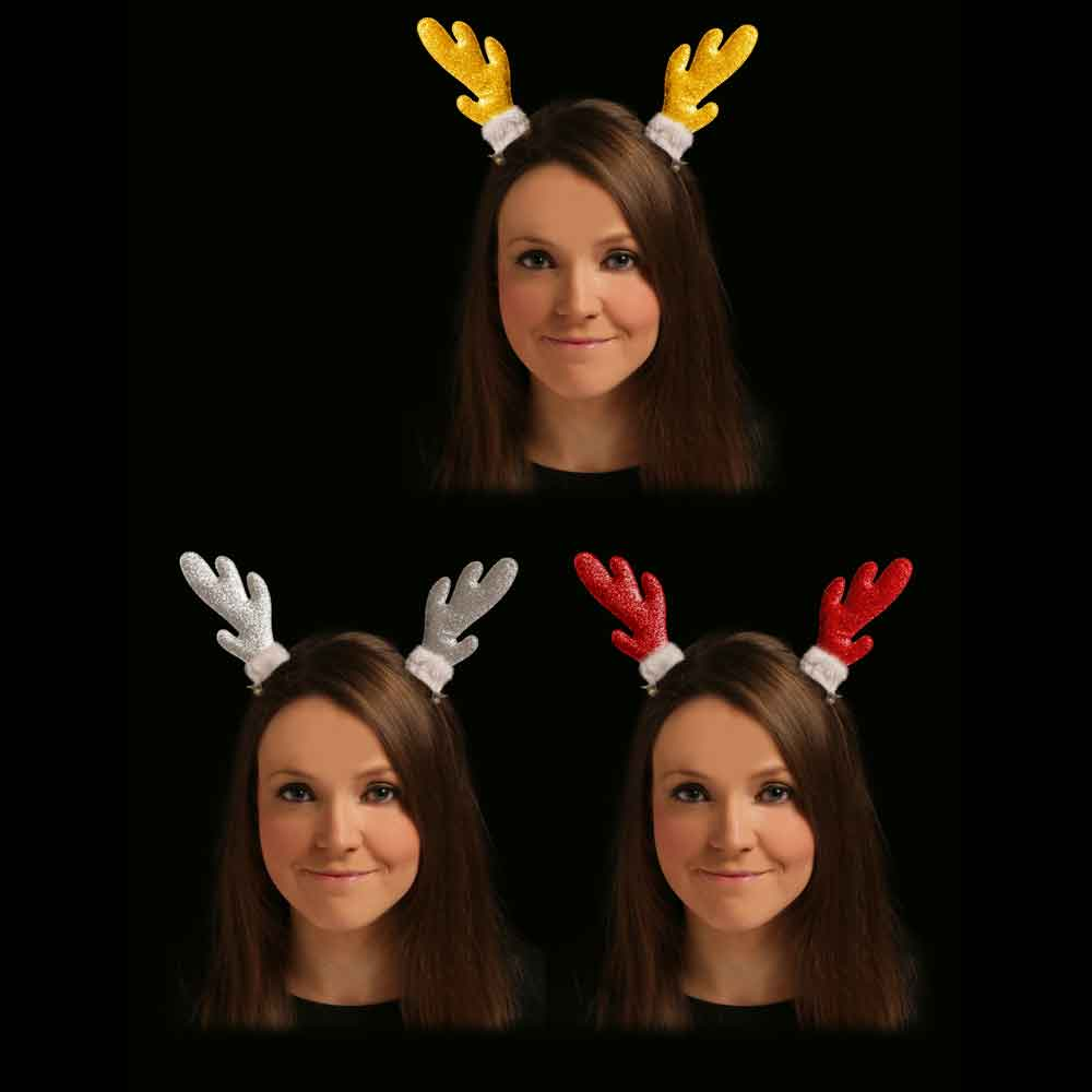 Christmas Reindeer Antlers Headband 3pck Red Gold & Silver Table Party Favour