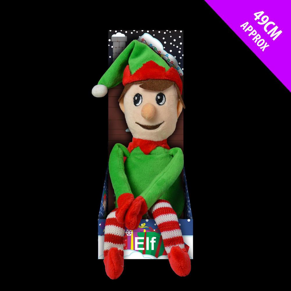 Christmas Plush Elf 37cm Stripey Candy Cane legs On Shelf Tree Gift Decoration