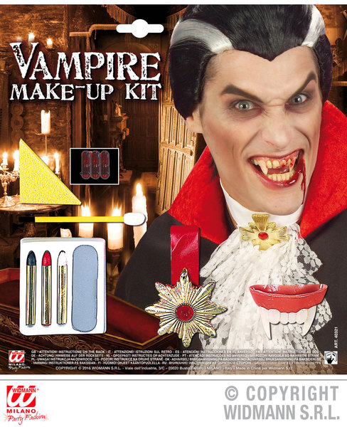 VAMPIRE MAKE UP SET WITH ACCESSORIES SFX for Dracula Vamp Halloween Cosmetics