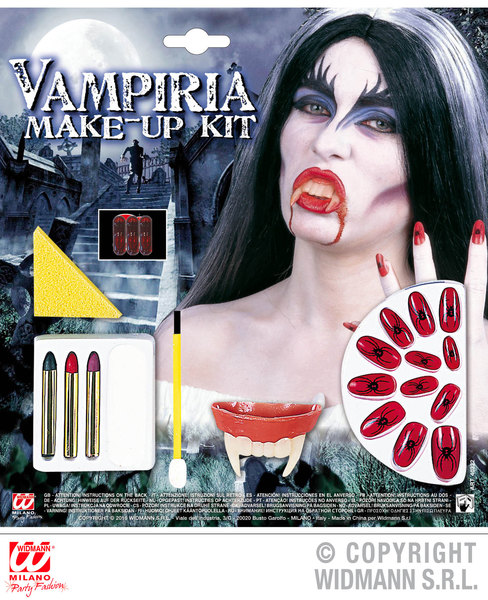 VAMPIRIA MAKE UP SET WITH ACCESSORIES SFX for Vampire Dracula Halloween Cosmetics
