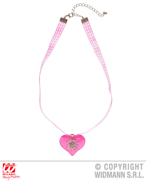 PINK-WHITE CHECKERED RIBBON NECKLACE WITH STRASS EDELWEISS Decoration for Bavarian Austrian German Party